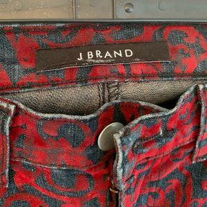 Red crushed velvet print jeans